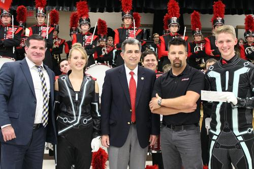 Superintendent with Marching Band Drum Majors, Band Director and Assemblyman Magnarelli
